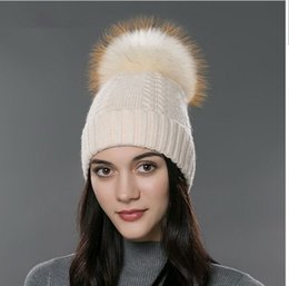 a3d664f47efbd Women Real Fur Hats Canada - Winter fur hat for women real raccoon fox fur  beanies