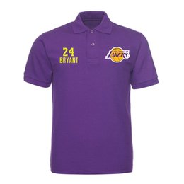 Chemise À Manches Courtes Homme Pas Cher-Basketball 2017 LAKER 24 KOBE BRYANT 14 INGRAM 2 BALL chemise homme polo homme polo coton manches courtes chemises décontractées Chemise solide homme