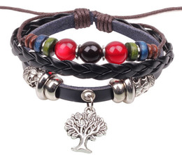 beaded multi strand bracelet Canada - New natural beaded leather bracelet with a tree in center,multi colours.