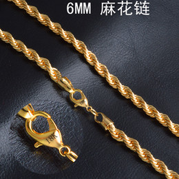 "$enCountryForm.capitalKeyWord Canada - 6 mm*20"" Twist chain 18k gold plated necklace fashion personality sautoir Man woman gold couples necklace 2pcs lot retail"