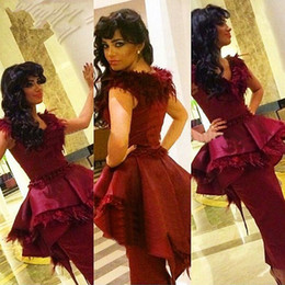 Robe De Longueur Cheville Bordeaux Pas Cher-Hot New 2016 robe de soirée Bourgogne Feather satin gaine Arabie arabe col en V Manches Peplum longueur cheville arabe Prom Party Dress Dubai