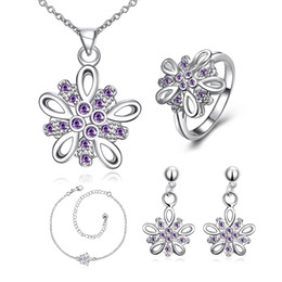 Crystal Gemstone Necklace Set Canada - Fashion Dimensional flower 925 silver necklace bracelet earring ring a famliy of four jewelry sets;sterling silver purple gemstone GTFS004A