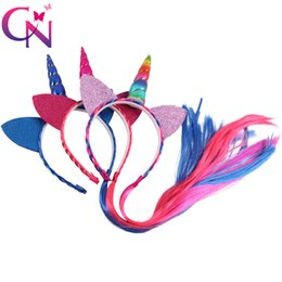Hair braids for kids online shopping - 3 Pieces Ponytail Unicorn Headbands With Glitter Ears For Kids Girls Princess Braid Wig Teeth Hairbands Hair Accessories