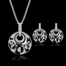 $enCountryForm.capitalKeyWord Canada - Necklace Earrings Jewelry Set Vintage Royal Women Rhinestone 18K White Gold Plated Geometric Alloy Circle Wedding Jewelry 2-Piece Set JS094