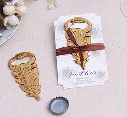 Großhandel Pfaufeder-Flaschenöffner-Goldflaschenöffner bevorzugt elegante Hochzeitsgeschenk-Geschenkkastenhochzeitsbevorzugungs-Partygastgeschenke