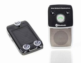 China Wireless Bluetooth 4.0 Handsfree Car Kit Speakerphone Solar Charger 10m Distance Support 2 Phones Speaker suppliers