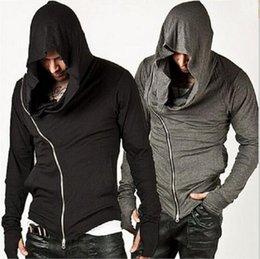 Sweat À Capuche Oblique Pas Cher-2016 Europ New Men Oblique Zipper Sports de plein air Hoodies Fashion Loose Hooded Jacket Hommes Cheap Hoodies Assassin Creed Jacket