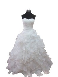 Robe À Col À Manches Longues Pas Cher-Livraison gratuite Robes de mariée Ruffles Sweetheart Neck Ball Gown Wedding Party Robes Robe de Soiree Organza Fabric