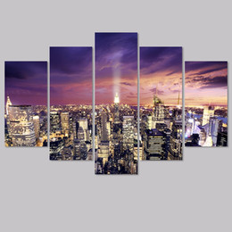 Big Size Modern City New York 5pcs Decoration Purple Wall Art Pictures  Landscape Night View Canvas Painting Living Room Unframed