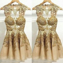 Gold Cocktail Dress Size 14 Canada - Real photo gold applique ball sleeveless organza mini prom graduation cocktail dresses evening gowns plus size formal party short guest