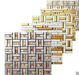 Discount Glass Gold Mosaic Tile Rectangular Mosaic Tiles Fashion Gold Glass  Mosaic Bathroom Mosaic Tiles Background
