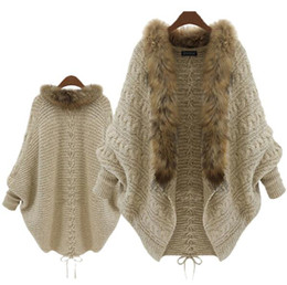 cardigan wholesalers UK - Brand European and American Style 2016 New Women Batwing Sleeve Thick Sweater Knit Cardigan Cape Women Loose Feather Sweater Coat Jacket