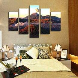 mountain home painting NZ - 5 Panel Volcano Landscape Painting Mountain Picture Sunset Canvas Printing Modern Home Decor Wall Art for Living Room Unframed