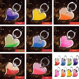 Wholesale Rotating Liquid Finger Grip Bling Glitter Heart Universal Cell Phone Luxury Ring Hook Holder Stand For iphone Samsung tablet pc