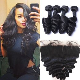brazilian human hair 28 inches 2019 - 4 Bundles With Frontal Closure Unprocessed Human Hair Peruvian Virgin Hair Loose Wave With Lace Frontal G-EASY cheap bra