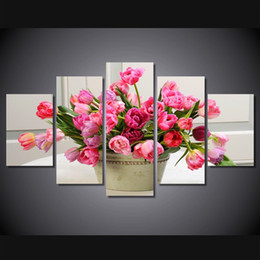 Chinese  5 Panel HD Printed Bouquet of Tulips flower Painting Canvas Print room decor print poster picture canvas ready to hang canvas rome manufacturers