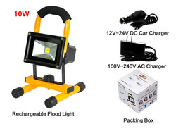 rechargeable flood lights Canada - Portable LED Flood Lights 10W Durable Handy Rechargeable LED Work Lamp Outdoor Waterproof Hiking Camping Lamps IP65 with Car Charger