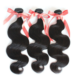 Wave Human Hair Bundles Canada - Top Quality Brazilian Hair 8-28Inch Virgin Human Hair Extensions Perfect Wavy Brazilian Body Wave Weaves 3pcs lot Natural Hair Bundle