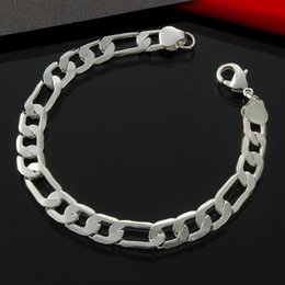"$enCountryForm.capitalKeyWord NZ - Solid 925 Sterling Silver 8MM 8"" Figaro Chain Bracelet"