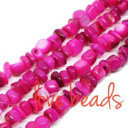 8mm Cube Beads Canada - Irregular Square Natural Fushia Shell Beads 5mm-8mm Gravel Loose Beads Strand 80cm For wholesale DIY Bracelet(F00316) wholesale