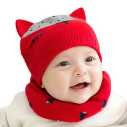 China 2017 Unisex baby Knit double Ear Beanies Hats and Ring Scarf Set Child Fox Design Jacquard Winter Warm Cap 2 Pieces Suit MZ5079 cheap children crochet fox hat suppliers