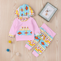 $enCountryForm.capitalKeyWord Canada - baby girls kids girls cartoon geometric printing suits cotton long sleeve hooded shirt + pink full pants trousers baby 2pcs sets cute p