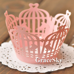 Barato Gaiolas De Pássaro Cortadas-100pcs / lot Frete grátis Laser Cut Birds em Cage Design Paper Cupcake Wrapper Liner para Wedding Birthday Party muffin Holder Table Decor.