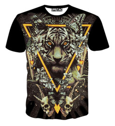 Vêtements De Tigre Pour Femmes Pas Cher-2016 Europe Mode été Hommes / Femmes animaux 3d t-shirt imprimer Triangle tigre crânes papillon t-shirt Cool tee chemises tops vêtements