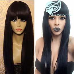 $enCountryForm.capitalKeyWord Canada - Glueless Full Lace Wigs For Black Women Brazilian Full Lace Wigs With Bangs Silky Straight Lace Front Human Hair Wigs