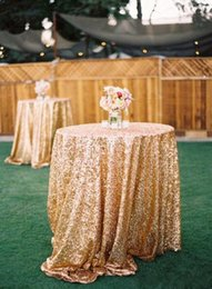 Cheap house deCorations online shopping - Gold Sequin Round Table Cloth Sparkly Champagne Tablecloth Elegant Wedding Sequin Table Linens Cheap Diameter cm Table Cloth