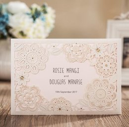 classic white laser cut flowers wedding invitations cards with white pearl paper and rsvp card for birthday marriage engagement cheap wedding invitations - Wedding Invitations And Rsvp