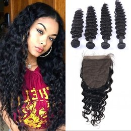 High Quality Bundle Human Hair NZ - High Quality Malaysian Deep Wave 4 Bundles with Closure Virgin Human Hair with Silk Base Closure FDSHINE