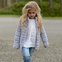 Chandail Crochet Fille Pas Cher-Baby Girls Chandails en crochet en tricot Kids Girls Singlet Pullover Breasted Babies Autumn Winter Cardigan 2017 Vêtements pour bébés