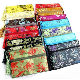 Discount double phone pouch - Tassel Double Zipper Pouch Bag Christmas Bags Gift Packaging Coin Purse Silk Brocade Cosmetic Makeup Bag Cell Phone Jewe