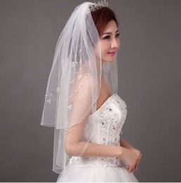 sequin yarn white Australia - New Luxury Top Fashion Beaded Edge 2T With Comb Lvory White Elbow Wedding Veil Bridal Veils