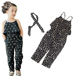 $enCountryForm.capitalKeyWord NZ - Fashion Girls Casual Sling Clothing Sets Romper Baby Lovely Heart Printing Jumpsuit Cargo Pants Bodysuits Kids Clothing Children Outfit