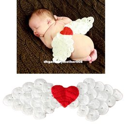 Wing Hats NZ - Lovely Newborn Photography Props Baby Heart Angel Wings Hats Character Handmade Beanies Baby Cap Baby Accessories Christmas Gift