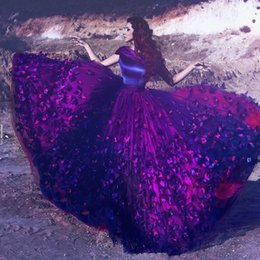 evening dresses butterfly sleeves NZ - Dark Purple Butterfly Appliques Prom Dresses 2017 Cap Sleeves Tulle Ball Gown Evening Gowns Custom Made Said Mhamad Formal Party Dresses