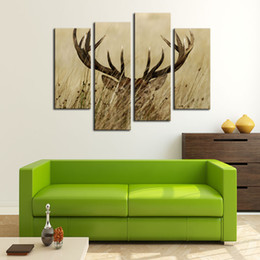 Discount oil paint grass - 4 Pieces Canvas Painting Deer Grass Picture Prints Animal Painting Wall Art For Home Decor with Wooden Framed Ready to H