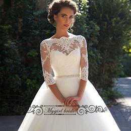 Discount Three Quarter Sleeve Lace Wedding Dresses | 2017 Three ...