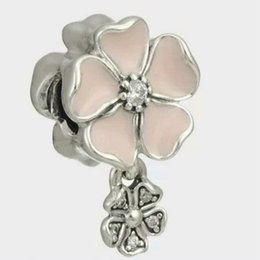 $enCountryForm.capitalKeyWord Canada - Pink flower charms pendants sterling silver Fits For Pandora Style Bracelets mothers day Free Shipping 982H9