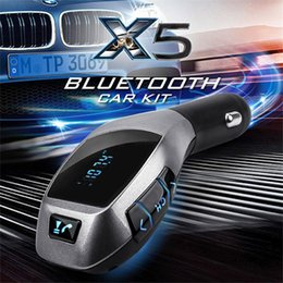 Iphone Stereo Player Australia - 2016 X5 Bluetooth Handsfree FM Transmitter Car Kit MP3 Music Player Radio Adapter Work with TF Card U Disk For iPhone Smartphone