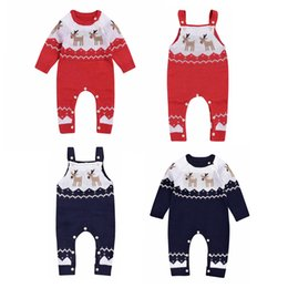 $enCountryForm.capitalKeyWord UK - Christmas Baby Infant Warmer Knitting Sweater Romper Bodysuit Deer Climbing knitting suspender Jumpsuit cotton Clothes Outfits For 0-24M