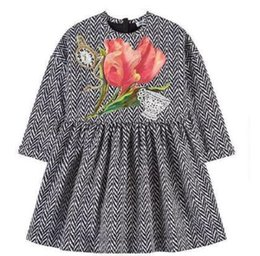 8145f5767e8 kids christmas Long Sleeve Dress 2016 Brand Kids Dresses for Girls Clothes  Floral Pattern Princesse Dress Disfraces Infantiles Princesa