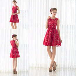 $enCountryForm.capitalKeyWord Australia - Red Applique Lace Short Prom Dresses for 8th Grade Cocktail Party Dress Homcoming Graduation Gown Cheap