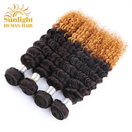 Peruvian Deep Curly Wavy Hair Canada - Ombre Mink Brazilian Curly Virgin Hair 4 Bundles Remy Human Hair Weaves Deep Wave Weave Bundles Wet And Wavy Brazilian Human Hair