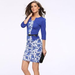 Blue Sashes Belts Canada - Plus Size Women Dresses Suit Autumn Formal Office Business Dress Clothes Woman Work Tunics Pencil With Belt Cotton Sashes