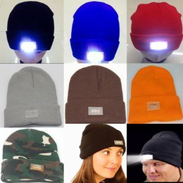 Flash grill online shopping - 2016 Newest LED Glowing Winter Beanies with Led Flash Light Novelty Led Hat for Hunting Camping Grilling Mix Color Accept Free DHL Sipping
