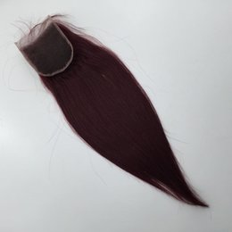 4x4 lace closures NZ - 100% Unprocessed brazilian Peruvian Burgundy Lace Closure Hair Weave Closure Pieces (4x4)Silky Straight Weave Virgin Human Hair Top Closures