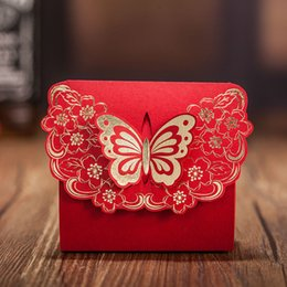 Barato Diy Favores De Partido Caixas De Presente-Red Romantic Wedding Party Supplies Decoração Butterfly DIY Candy Cookie Gift Boxes Wedding Favors Candy Box Gift Wrap